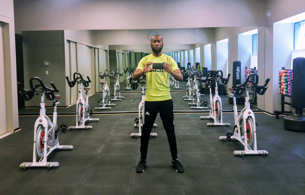 Pierre in a gym