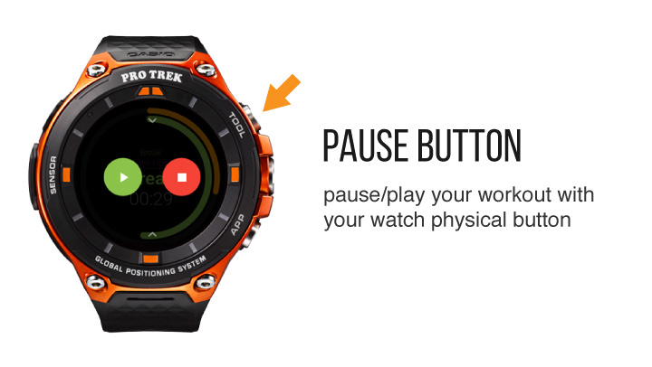 Pause a workout from the smartwatch physical button